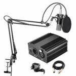 STRAW Kit microphone à condensateur professionnel de diffusion et d'enregistrement de studio + alimentation fantôme 48 V noir