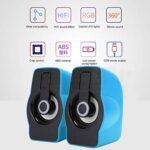 Agatige Haut-parleurs d'Ordinateur Lecteur de Musique PC Portable avec Modes d'éclairage LED Mini Haut-Parleurs Stéréo Alimentés par USB (Bleu Ciel)