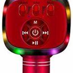 BONAOK Microphone Sans fil Bluetooth Karaoké, Lumières LED, Machine de Haut-parleur Micro Portable pour Jouets pour Enfants/Extérieur/Anniversaire/Maison/Fête (Rouge)