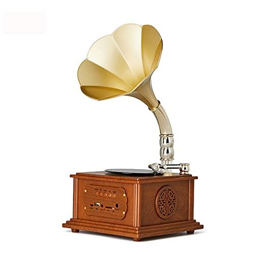 LJFZMD Tourne-Disque, Platine Vinyle Bluetooth avec Haut-Parleurs Intégrés Et Lecteur De Disque Phonographe Vintage À Entraînement par Courroie USB pour Le Divertissement,A