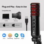 Microphone USB, TECELKS Microphone à Condensateur pour PC avec Trépied pour Enregistrement Vocal et Musical, Conférence, Podcasting, Streaming, Jeux Vidéo, Skype, Convient pour Mac, Windows, PS4