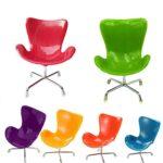 Mini chaise pivotante Dollhouse Fauteuil Toy Chaise Dossier pour petits animaux Hamster Oiseau perroquet souris chinchilla orange