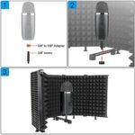 Bouclier d'Isolation de Micro Pliable 5 Panneaux Filtre Anti Pop et Anti Vent Mousse Absorbante Haute Densité Shield Isolation pour Blue Yeti Studio et Tout Equipement d'Enregistrement de Microphone