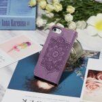 Lijc Compatible avec Coque iphone 6/7/8/SE 2020 Prime Mou PU Cuir Retourner Portefeuille Attrapeur de Rêves en Relief Schéma Cas [Fente pour Carte] [Fonction Stand] Housse Antichoc-Violet