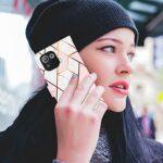 Lijc Compatible avec Coque Xiaomi Mi 11 Pro Prime PU Cuir Wallet Marbre Géométrique Conception Fermeture Magnétique Fonction Stand Emplacements pour Cartes Anti-Choc Étui-Rose Blanc