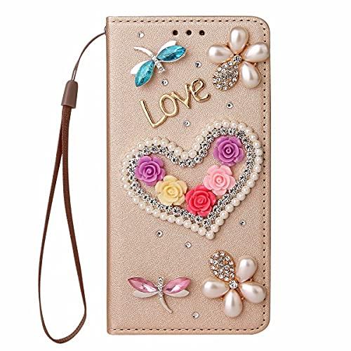 Nadoli Wallet Coque avec Diamant pour iPhone Xs Max 6.5″,3D Fait Main Amour Coeur Fleur Soie Dessin Bling Pailleté Brillant Faux Cuir Dragonne Housse Étui à Rabat