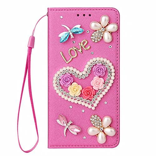 Nadoli Wallet Coque avec Diamant pour Samsung Galaxy S9,3D Fait Main Amour Coeur Fleur Soie Dessin Bling Pailleté Brillant Faux Cuir Dragonne Housse Étui à Rabat