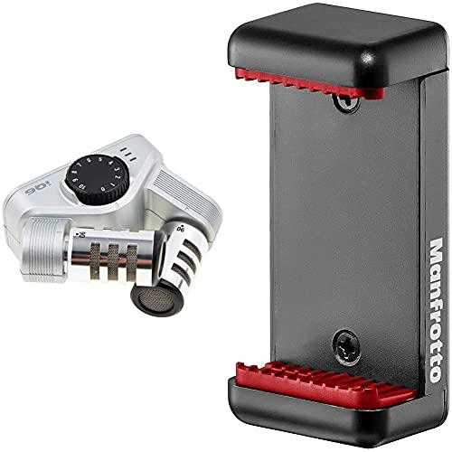 Zoom IQ6 Microphone stéréo X/Y pour iPhone/iPad/iPod Noir & Manfrotto MCLAMP Pince Universelle pour Smartphone avec Pas de Vis 1/4 Noir