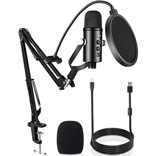 Microphone à condensateur USB, professionnel Micro PC pour enregistrement sur ordinateur portable Windows MAC, Microphone cardioïde pour podcasting, Voice Over Streaming, Gaming, YouTube, Studio,Skype