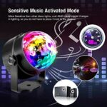 SLKIJDHFB Lumières disco activées par le son de DJ, boules rotatives 3 W 7 modes RGB LED Scène Lumières avec télécommande et câble USB de 4 m pour la maison, les fêtes, les anniversaires