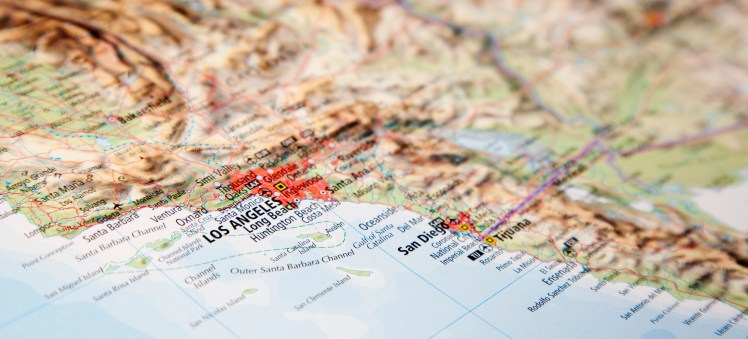 Map of Southern California with active earthquake faults