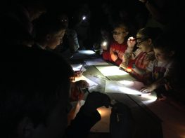 At the end of the evening there was a workshop on animal night vision. After drawing in the dark, everyone turned their flashlights to the table to see what they had created.