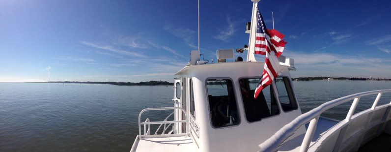 The river from the pilothouse of the ferry.