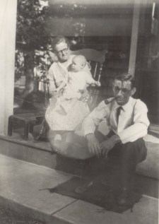 "Probably the oldest picture of Liz I have, from 1931. Elizabeth ""Lizzie"" ""Grammy"" Williams Noll, Elizabeth Kleintop, Puerette ""Puri"" ""Pappy"" Noll. On porch of Columbia Ave. home, Palmerton."