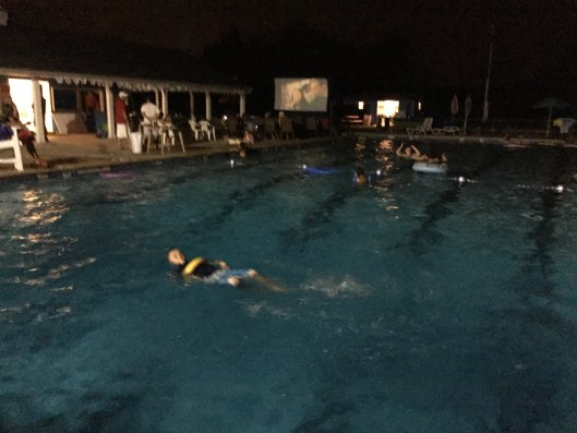 Movie night at Elmer Swim Club the other week—Francis relaxes and self-soothes in the water.