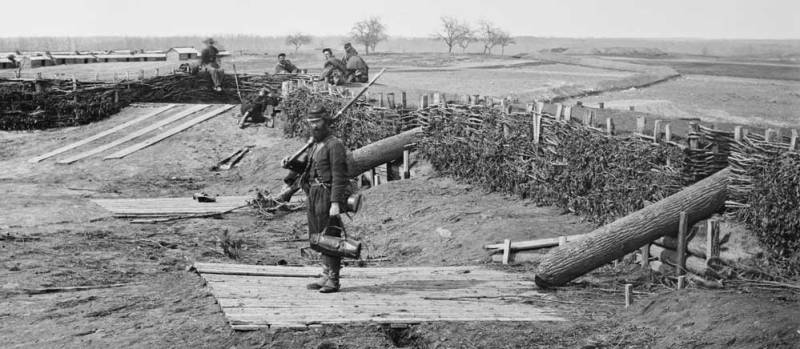 Quaker guns at Manassas Junction, 1862. Via Wikimedia.