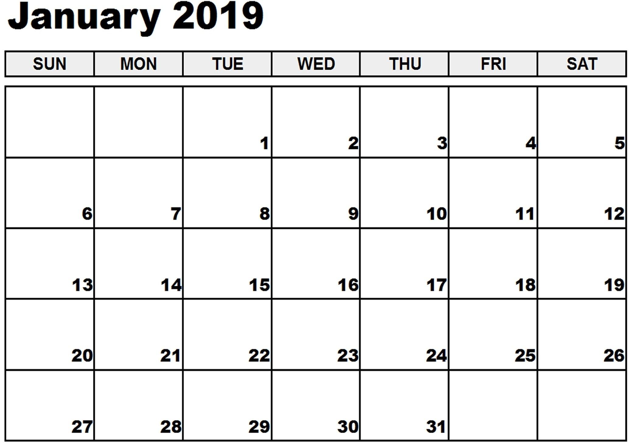 January Calendar Excel