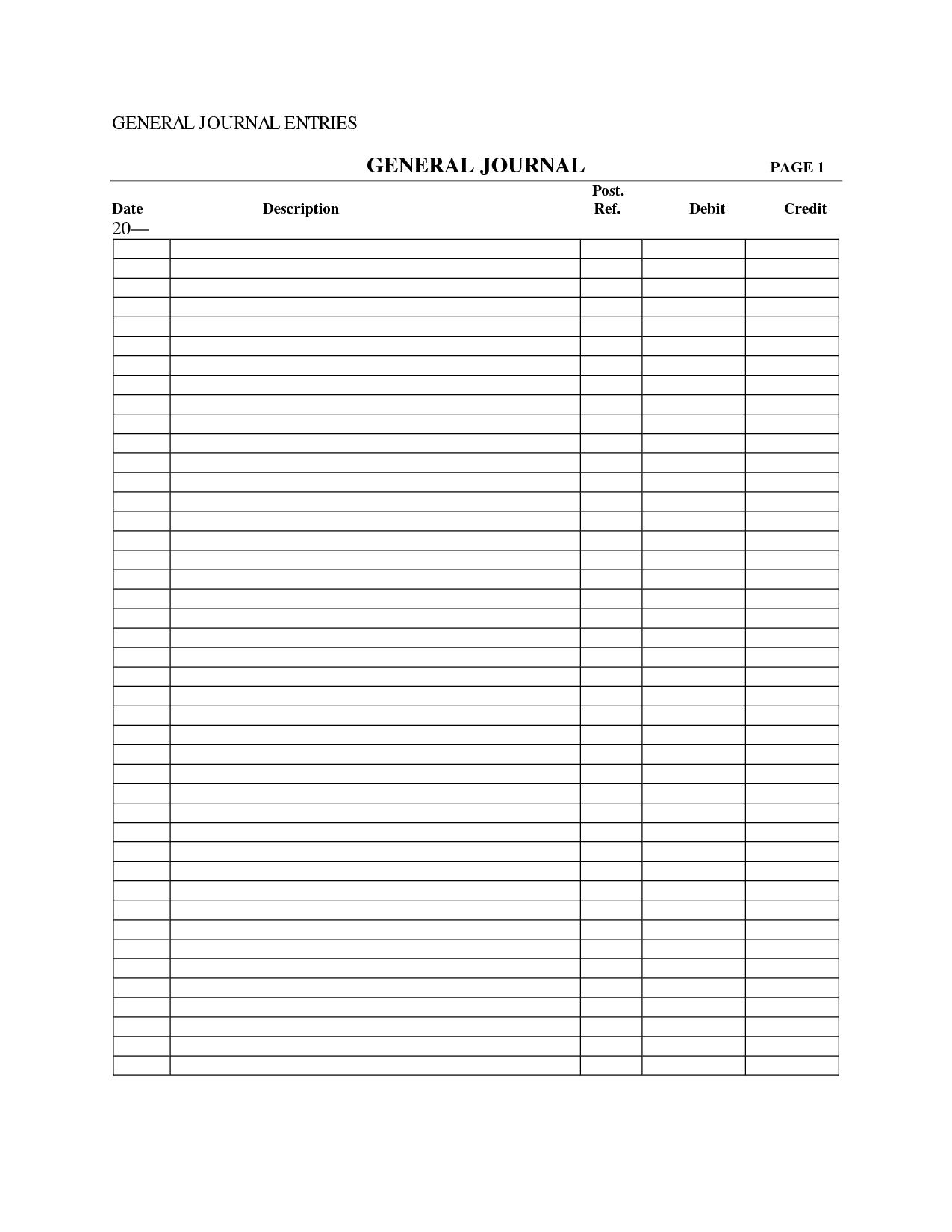 Printable General Journal Voucher Template
