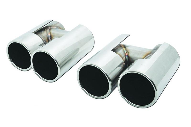 universal stainless steel exhaust tips bmw m5 look dual 2x89 d64 set
