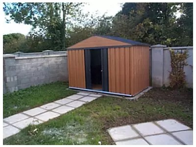 woodgrain metal shed 6ft x 4ft