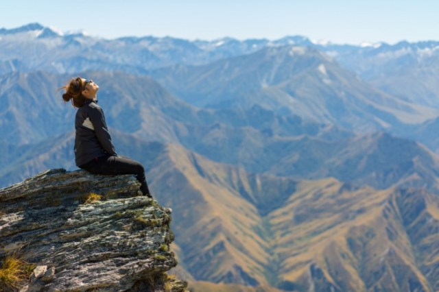 girl hiker on Ben Lomond, Queenstown, New Zealand