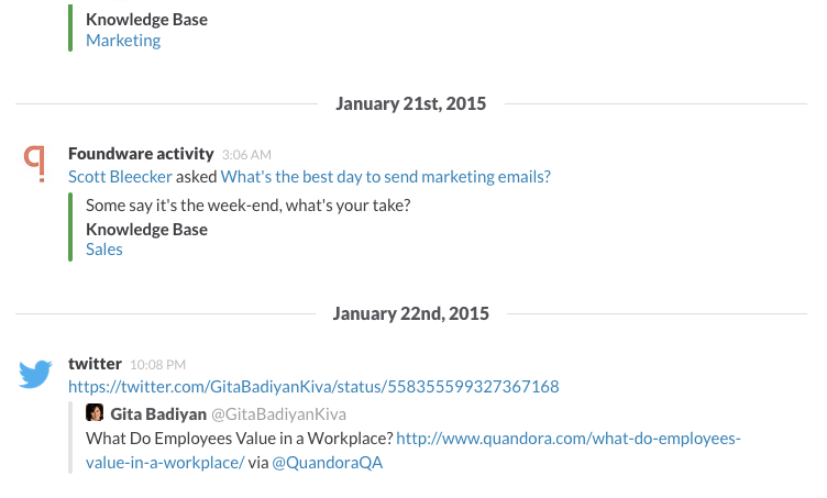 Quandora integrates with Slack