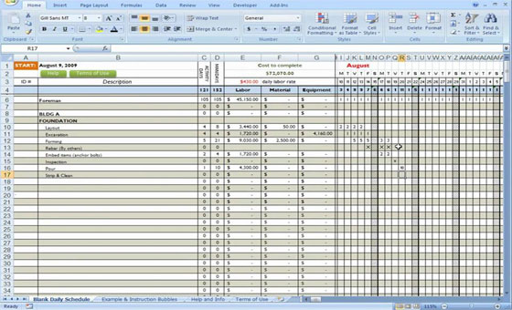 Construction Forms for excel