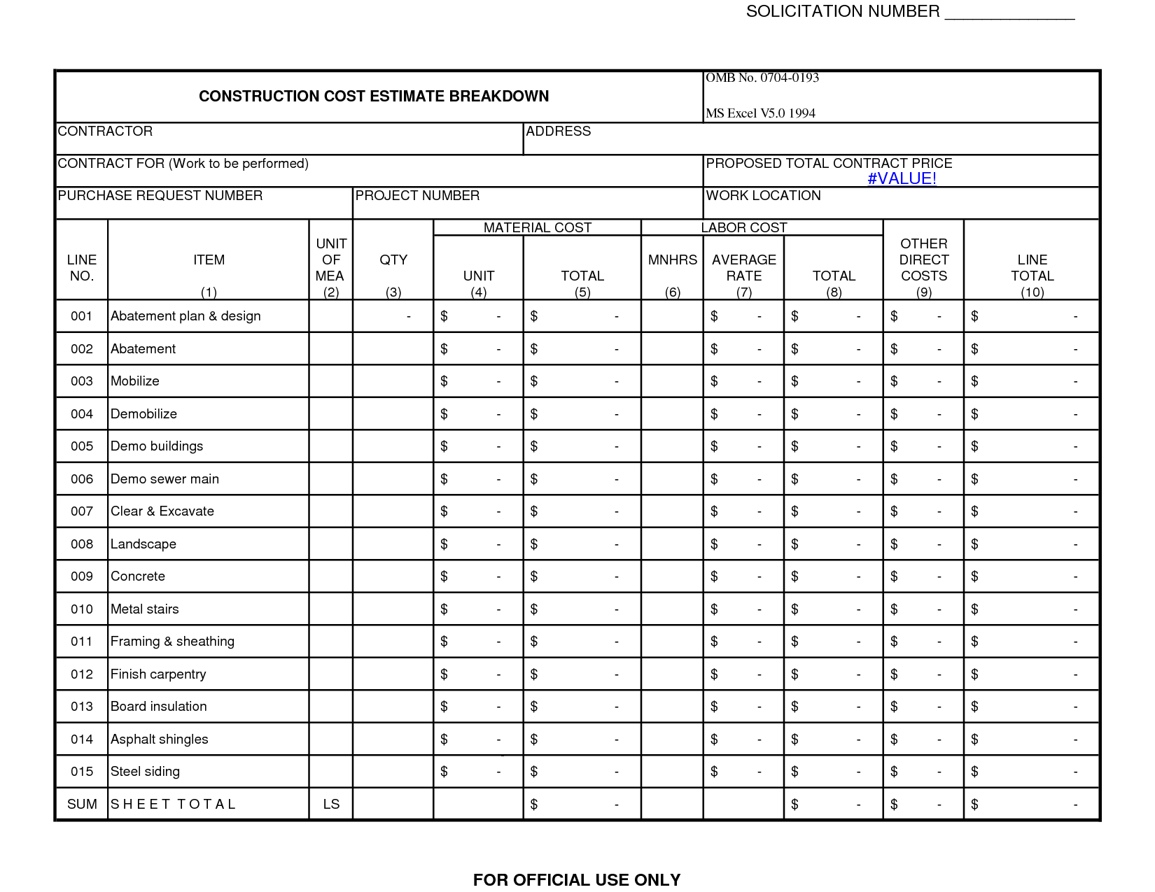 Construction Job Construction Job Worksheet
