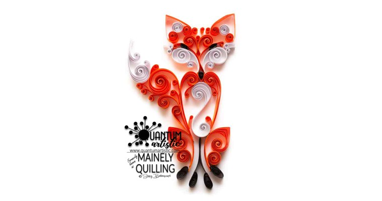 Quilled Scrollwork Red Fox