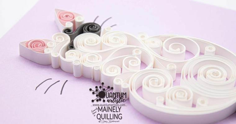 Custom Quilled White Scrollwork Cat