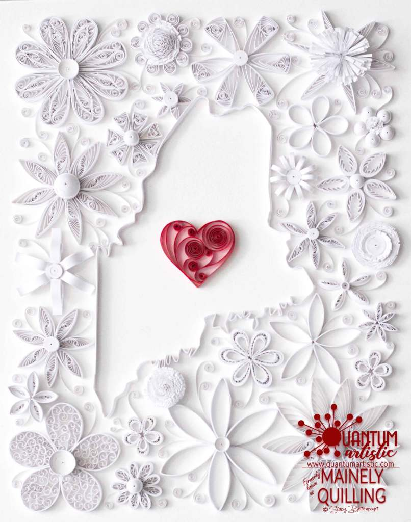 Quilled Floral State of Maine