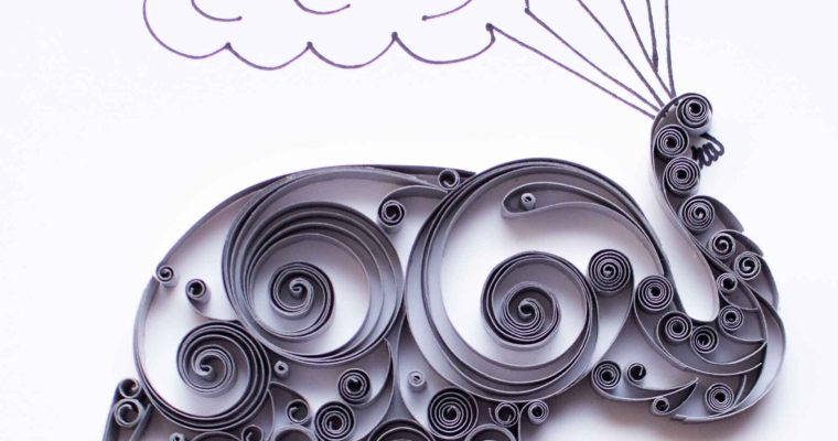 Paper Quilled Scrollwork Elephant | With Clouds