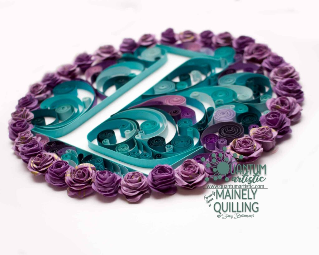 Rose and Swirl Quilled Monogram