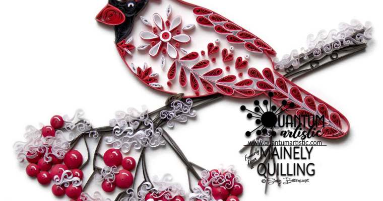 Paper Quilled Snowflake Cardinal