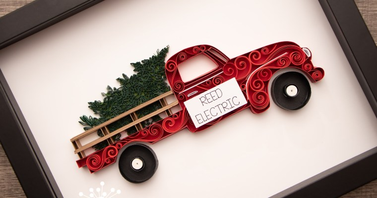 Quilled Red Truck with Tree