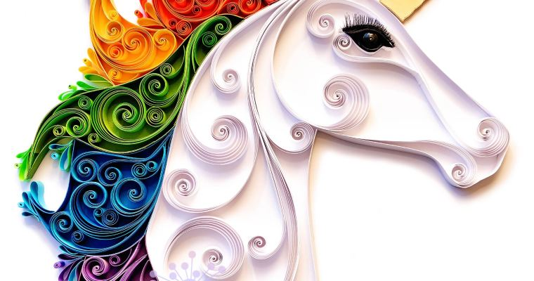 Quilled Rainbow Scrollwork Unicorn
