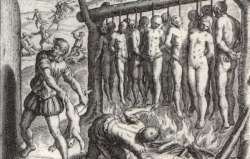They made gallows just high enough for the feet to nearly touch the ground ... and they burned the Indians alive.'