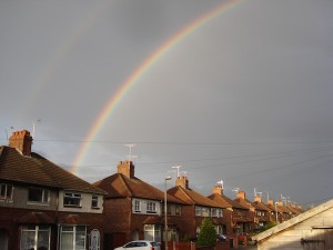 A double rainbow over my hometown of Crewe.  What does it mean?!
