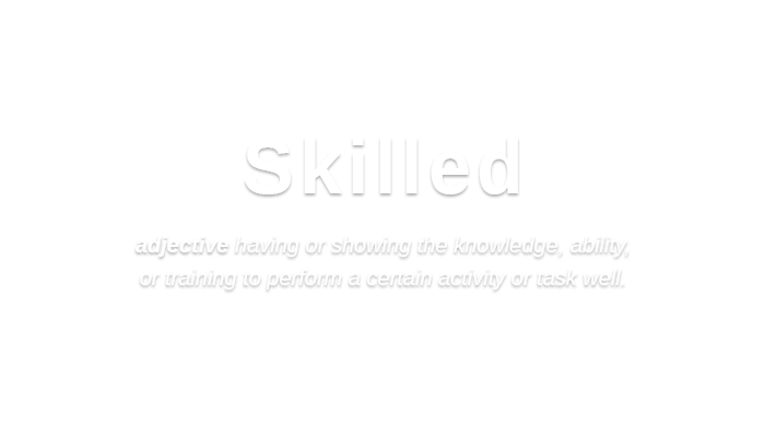 Skilled   /skɪld/ adjective having or showing the knowledge, ability,  or training to perform a certain activity or task well.