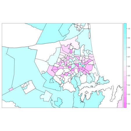 Ethnic diversity in schools at the Census Area Unit level (0 very diverse, 1 not diverse at all).