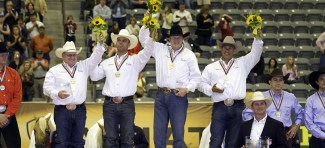 Team USA members Tim McQuay, Tom McCutcheon, Craig Schmersal and Shawn Flarida celebrate their Gold Medal victory.