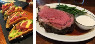 Ahi tacos and prime rib with shallot buttered green beans
