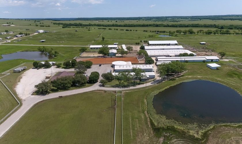 Aerial view of Carol Rose Quarter Horses ranch