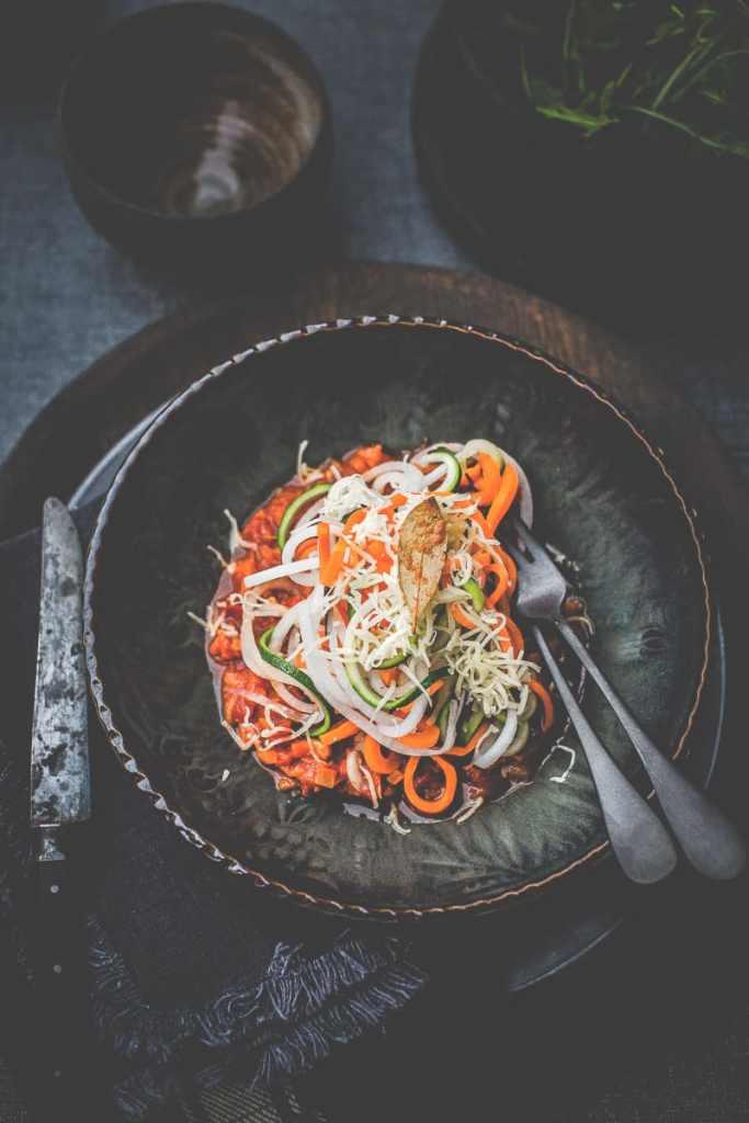 Spaghetti de légumes bolognaise version Végan - Magali ANCENAY Photographe Culinaire