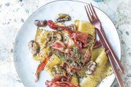 Pâtes fraiches aux champignons et jambon Bellota - Magali ANCENAY