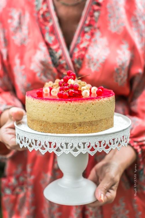 cheesecake pêche groseille - Magali ANCENAY