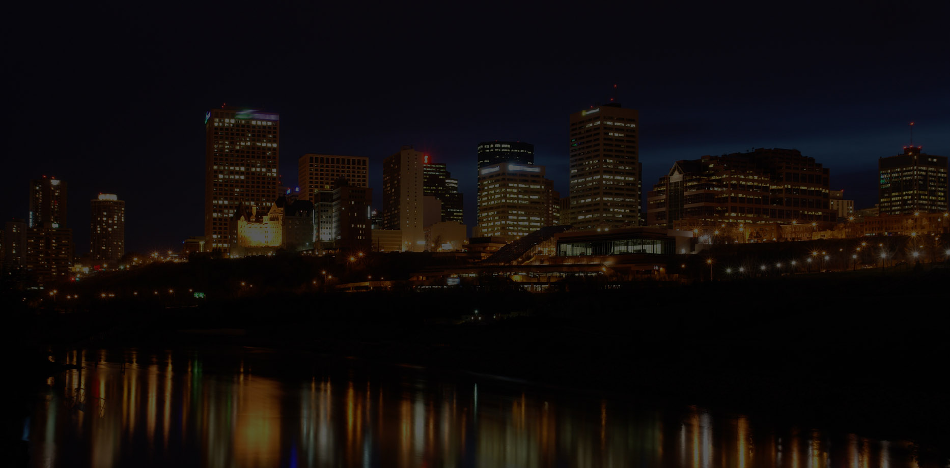 Edmonton's skyline at night