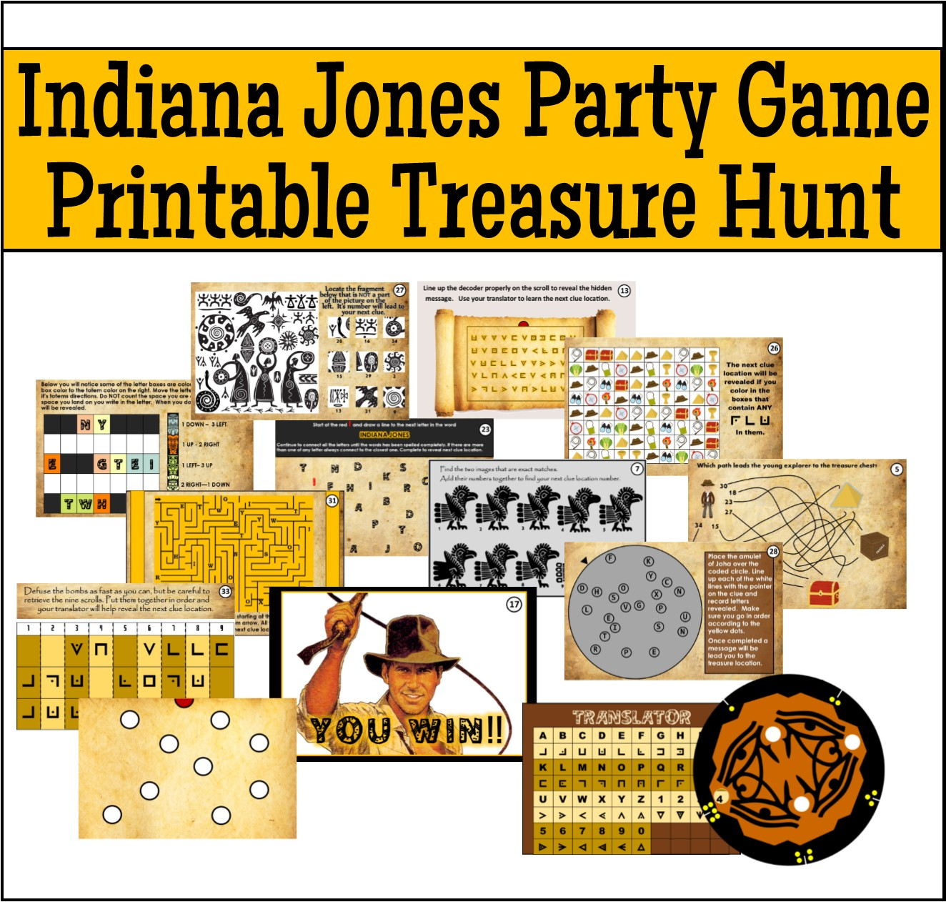 Printable Indiana Jones Treasure Hunt Party Game