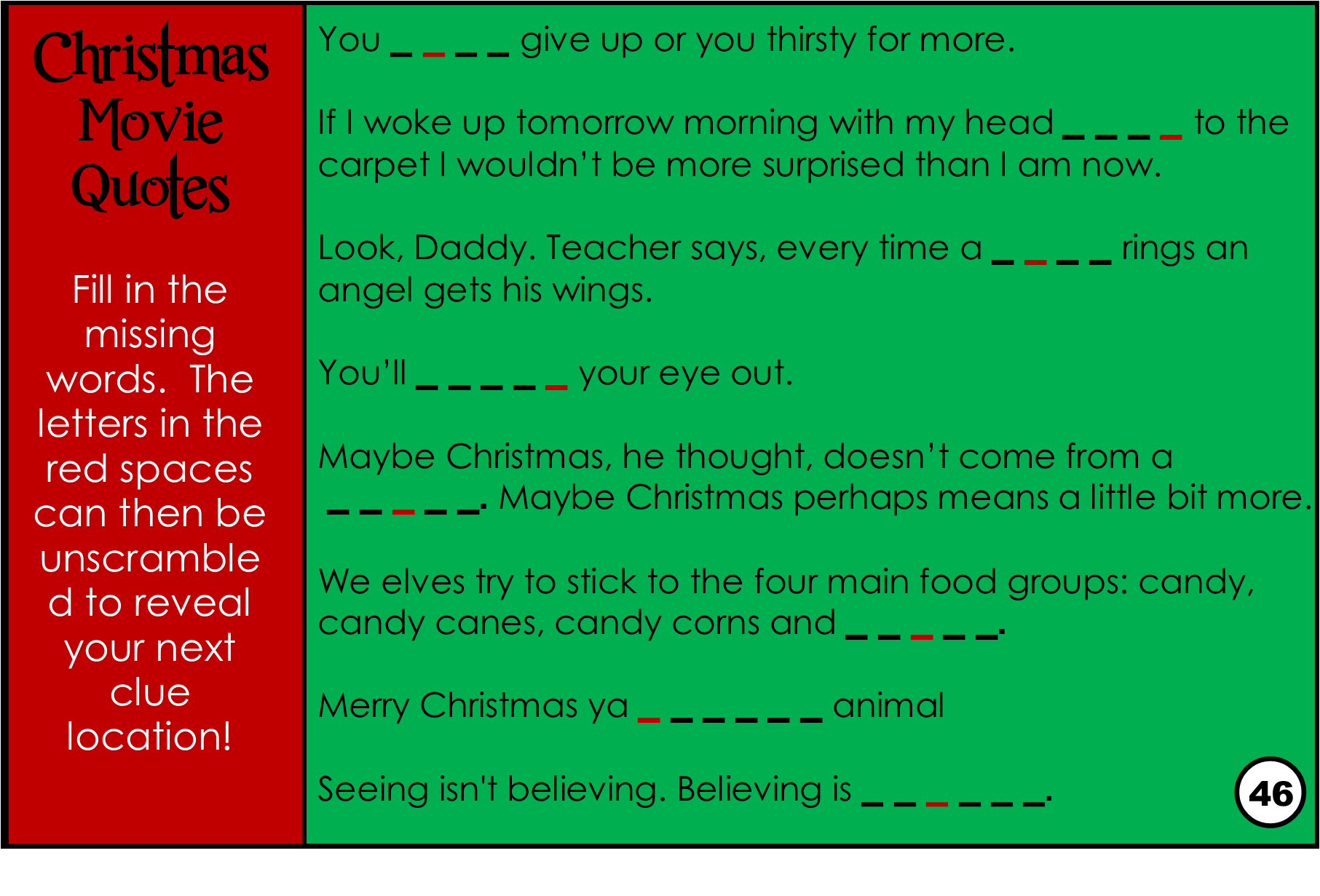 Printable Christmas Movie Trivia Game Treasure Hunt