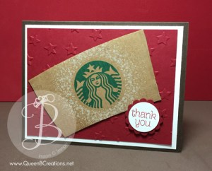 Stampin' Up! handmade card made with a starbucks sleeve in red